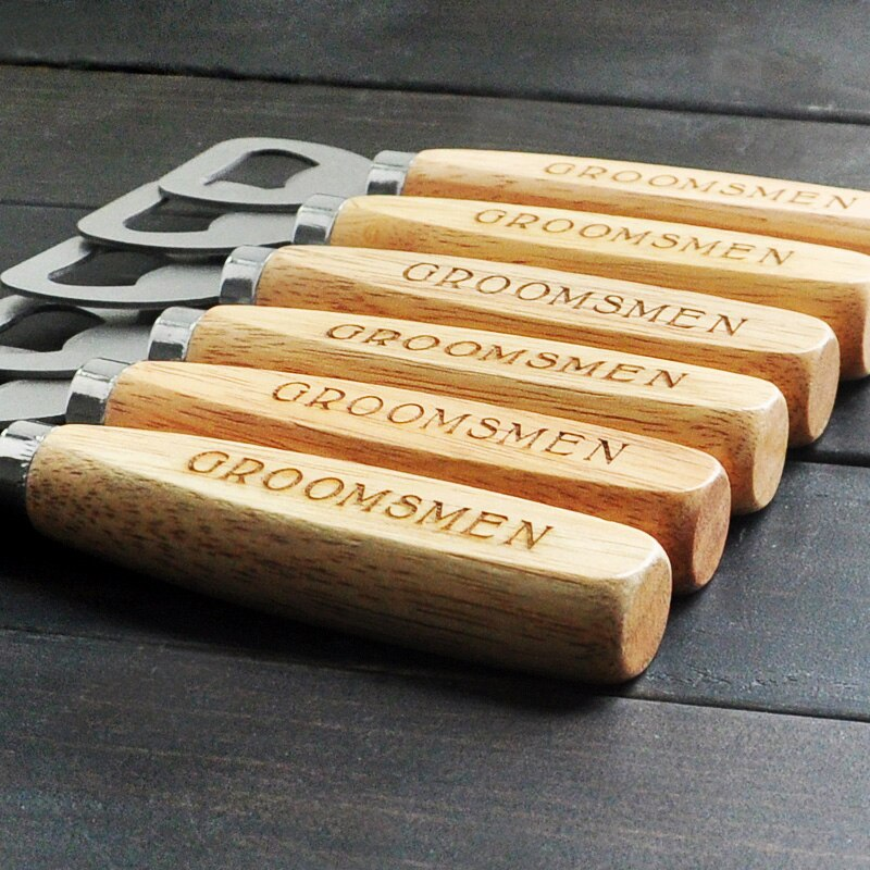 Personalized Wood Beer Bottle Opener, Personalized Bottle Opener, Engraved Groomsmen, Customized Groomsmen gifts for men