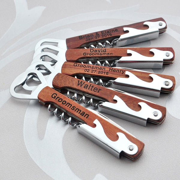 Custom Engraved Bottle Opener Personalized Corkscrews, Custom Groomsman Gift Best Man Gift House Warming Gift Corkscrew Knife