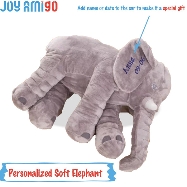 Personalized Monogrammed Soft Elephant With Your Choice Of Name Monogram On Ear Plush Animal Toy Plushies Special Gift For Kids