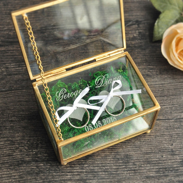 Rustic Wedding Ring Bearer Box Geometric Ring Holder Box, Personalized Wedding Ring Box Glass