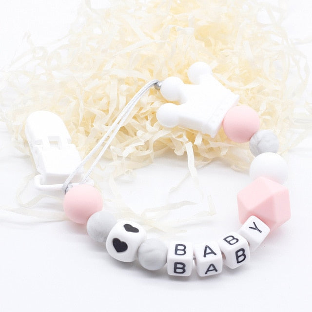 Personalized Name Silicone teething pacifier clips with Safe ABS beads