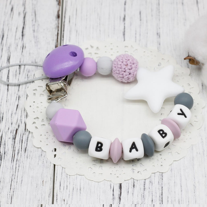 DIY Silicone Baby Pacifier Clip Personalised Name Colorful Pacifier Chain