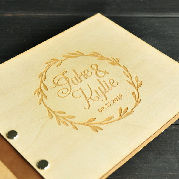 Personalized Rustic Wedding Guest book 50 Pages, Wood Custom Engraved Guestbook Signature Guestbook Wedding Gift