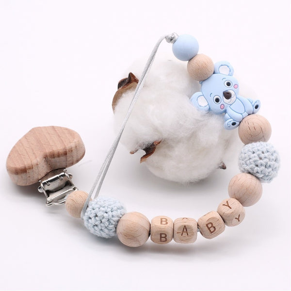 Wood Baby Pacifier Clip Personalised Name Pacifier Chain