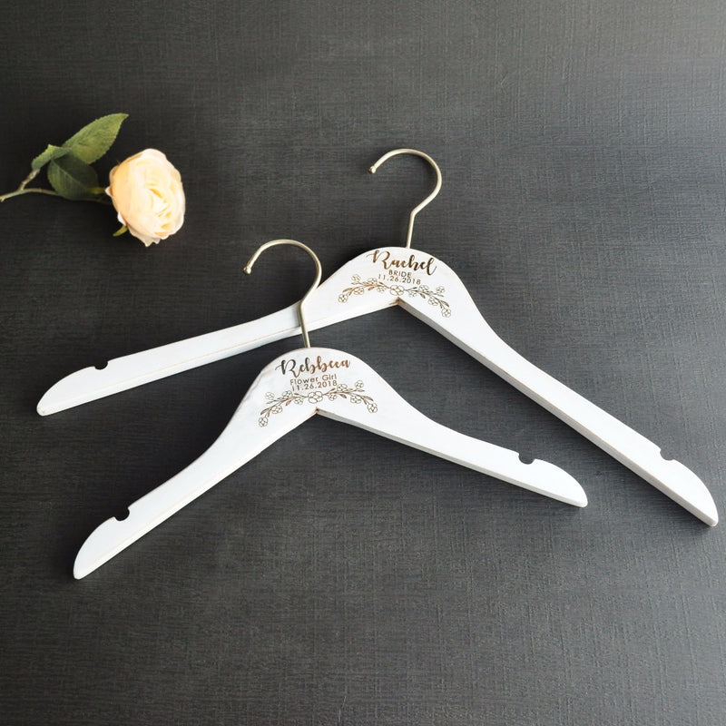 Personalized Wedding Hanger Rustic Bridal Dress Hanger, Bridesmaid Maid of Honor Gift Flower Girl Hanger