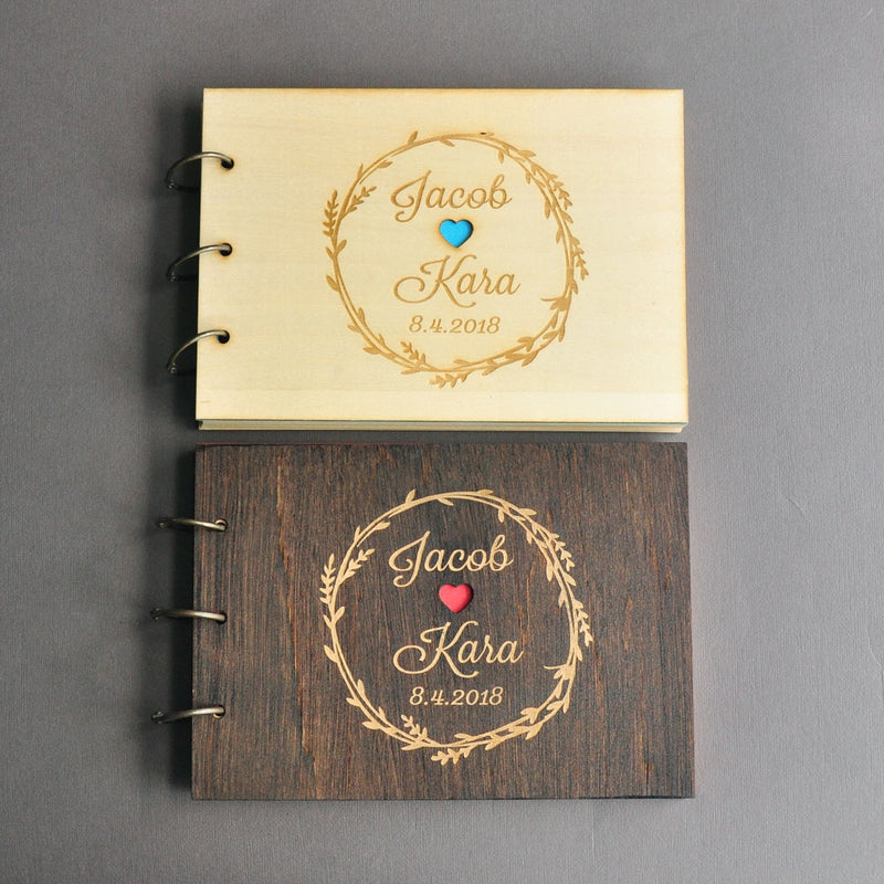 Personalized Rustic Wedding Guestbook Custom Wood Guest Book Engagement Anniversary Gift Wedding Sign Book