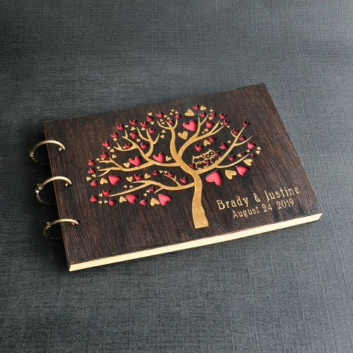 Personalized Wedding Tree Guest Book, Cute Owls Tree Rustic Wedding Guestbook Wedding Well Wishes Guest Book