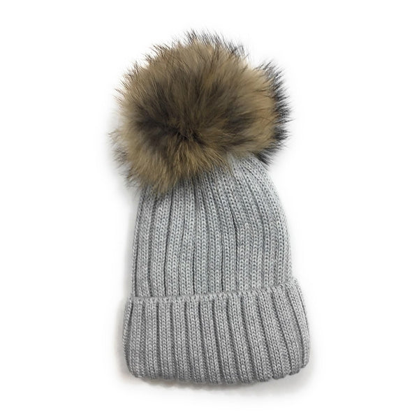 Tuque lainage avec pompon naturel - Gris