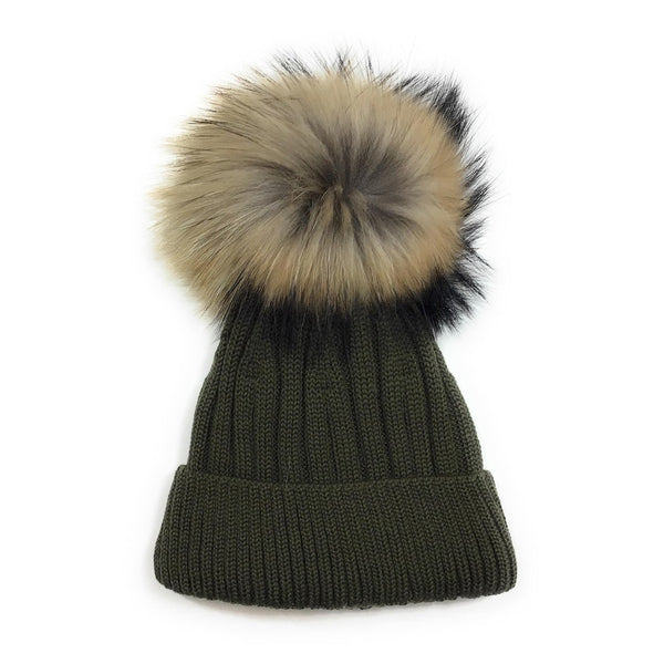Tuque lainage avec pompon naturel - Kaki