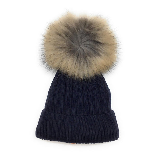 Tuque lainage avec pompon naturel - Marine