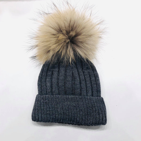 Tuque en lainage avec pompon naturel - Charcoal
