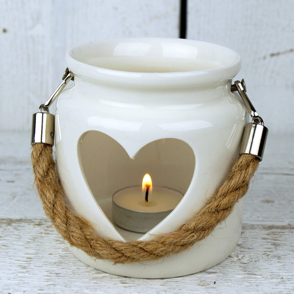 Large White Porcelain Heart Lantern with Rope