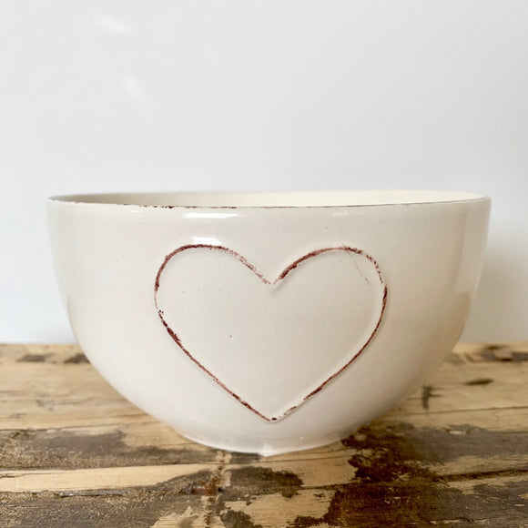 Heart Embossed Bowl, Cream
