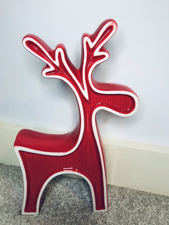 Red Ceramic Standing Reindeer