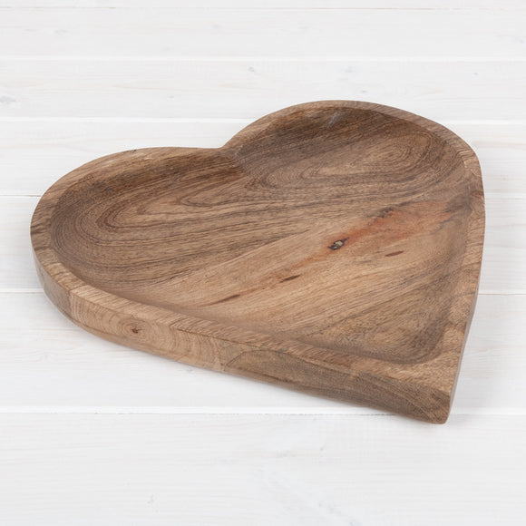 Natural Wooden Heart Dish, 25cm
