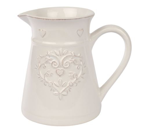 White Ornate Heart Jug