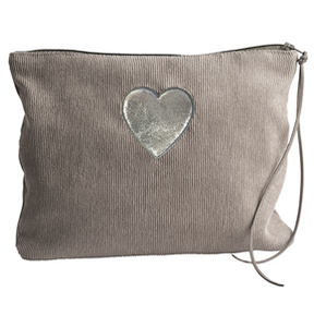 Make UpCosmetic Bag - Corduroy Grey with Heart