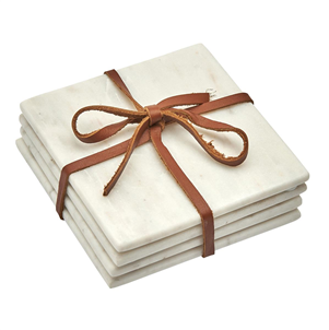 Set of 4 White Marble Coasters