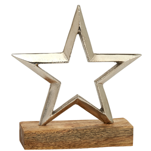 Silver Metal Star on Wooden Base