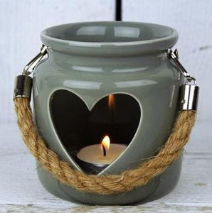 Grey Porcelain Heart Lantern, 10cm
