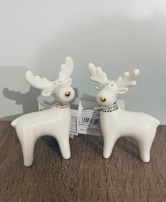 Standing ceramic white Reindeers, set of 2