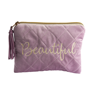 Lilac 'Beautiful' Quilted Velvet Make Up Bag