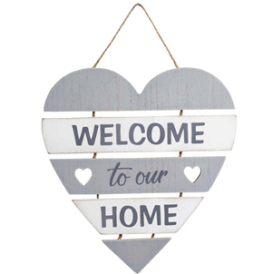 'Welcome to our home' Slatted Heart Sign