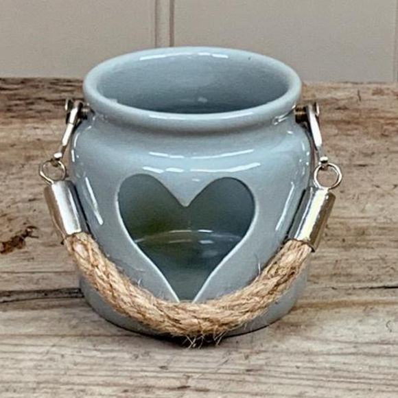 Grey Porcelain Heart Lantern, 7cm