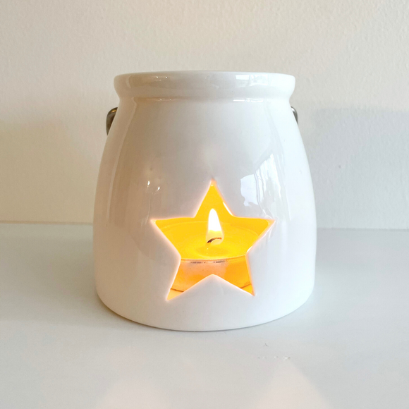 White Ceramic Star Lantern, 9cm