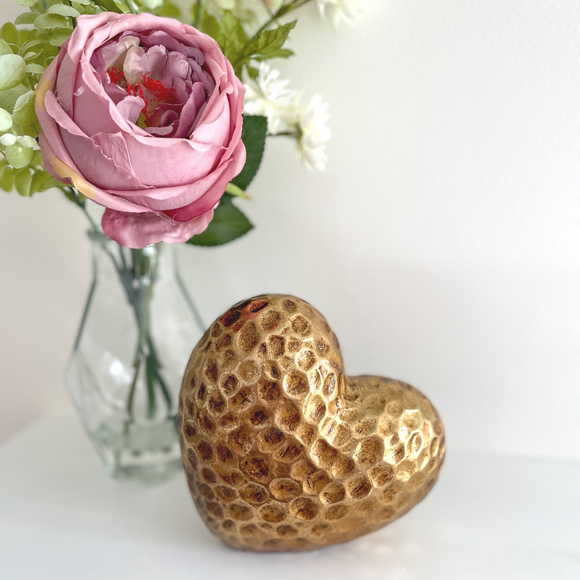 Gold Heart Block 14cm