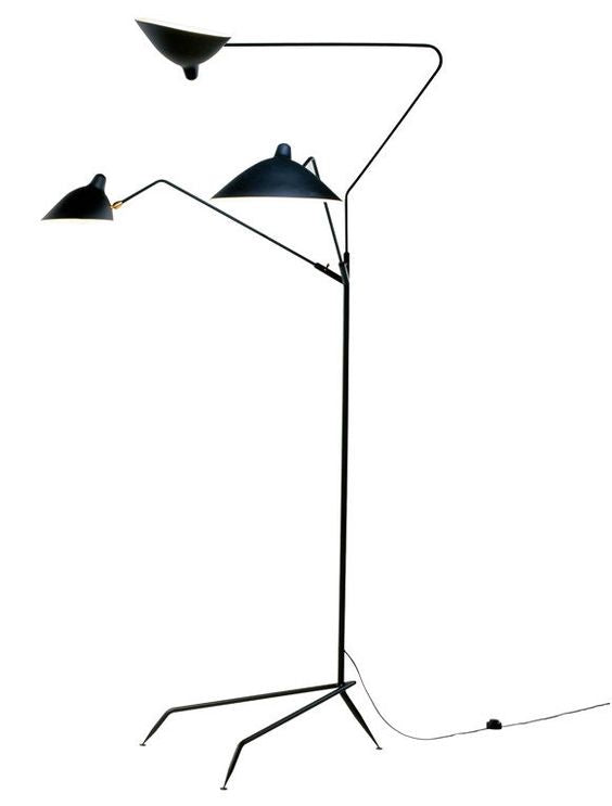 Serge Mouille Floor Lamp with 3 arms by Guéridon