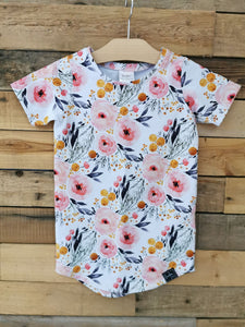 T-shirt long - Fleurie jaune moutarde et rose