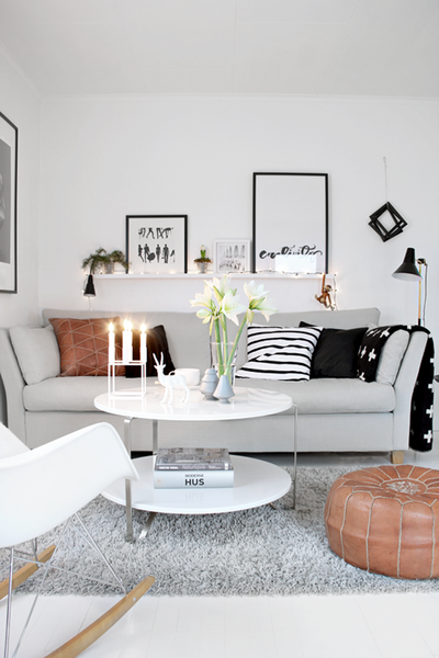 scandinavian style furniture and ottoman
