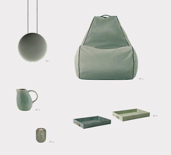 green bean bag and homewares
