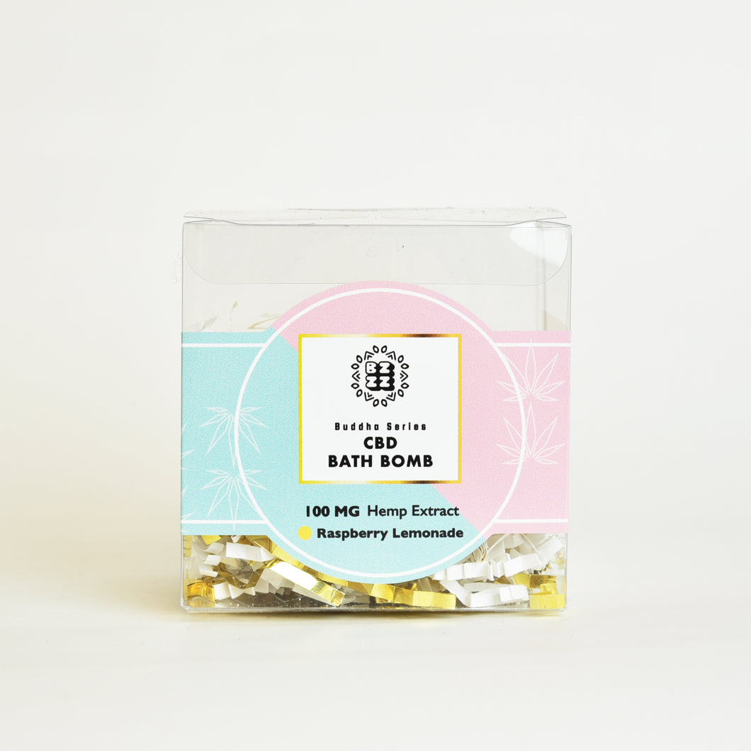 BZZZ CBD Bath Bomb, Raspberry Lemonade