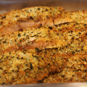 Parmesan Encrusted Salmon With Dill Cream Sauce