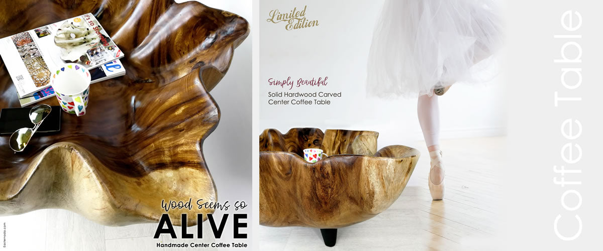 Designer Solid Hardwood Center Coffee Table, Bring Nature Home. Handmade and Hand Carved from Sustainable Wood Furniture