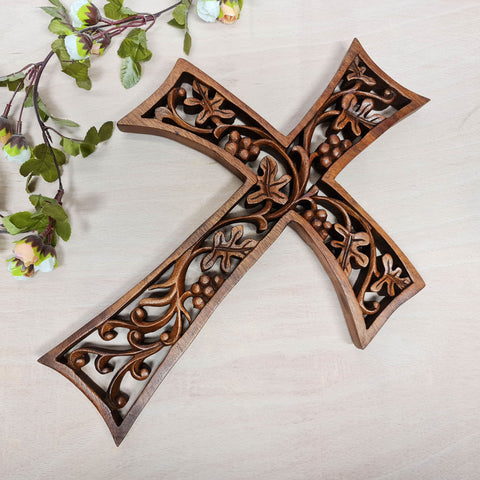 Holy Cross Christian hand carved wooden hanging - Religious Easternada