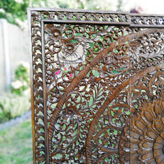 "47"" Handmade Carved Wooden Decorative Wall Art Lotus Headboard Panel"