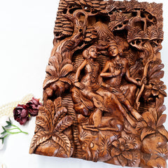 Hand Carved Wooden Hindu God - Ram Sita Sculpture Art Mandir