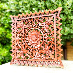 Hand Carved Wooden Decorative Panel Art Sculpture Mandala Yoga Square