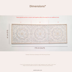 "Saffed Carved Wooden Decorative Wall Art Mandala Headboard Panel 68"" x 24"" inches Distressed White -Easternada"