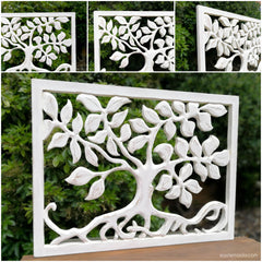 Hand Carved Wooden Decorative Panel Art Tree of Life Distressed Shabby Chic White