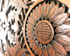 Extra Large Decorative Panel - Handmade Carved Wooden Wall Art Lotus Headboard