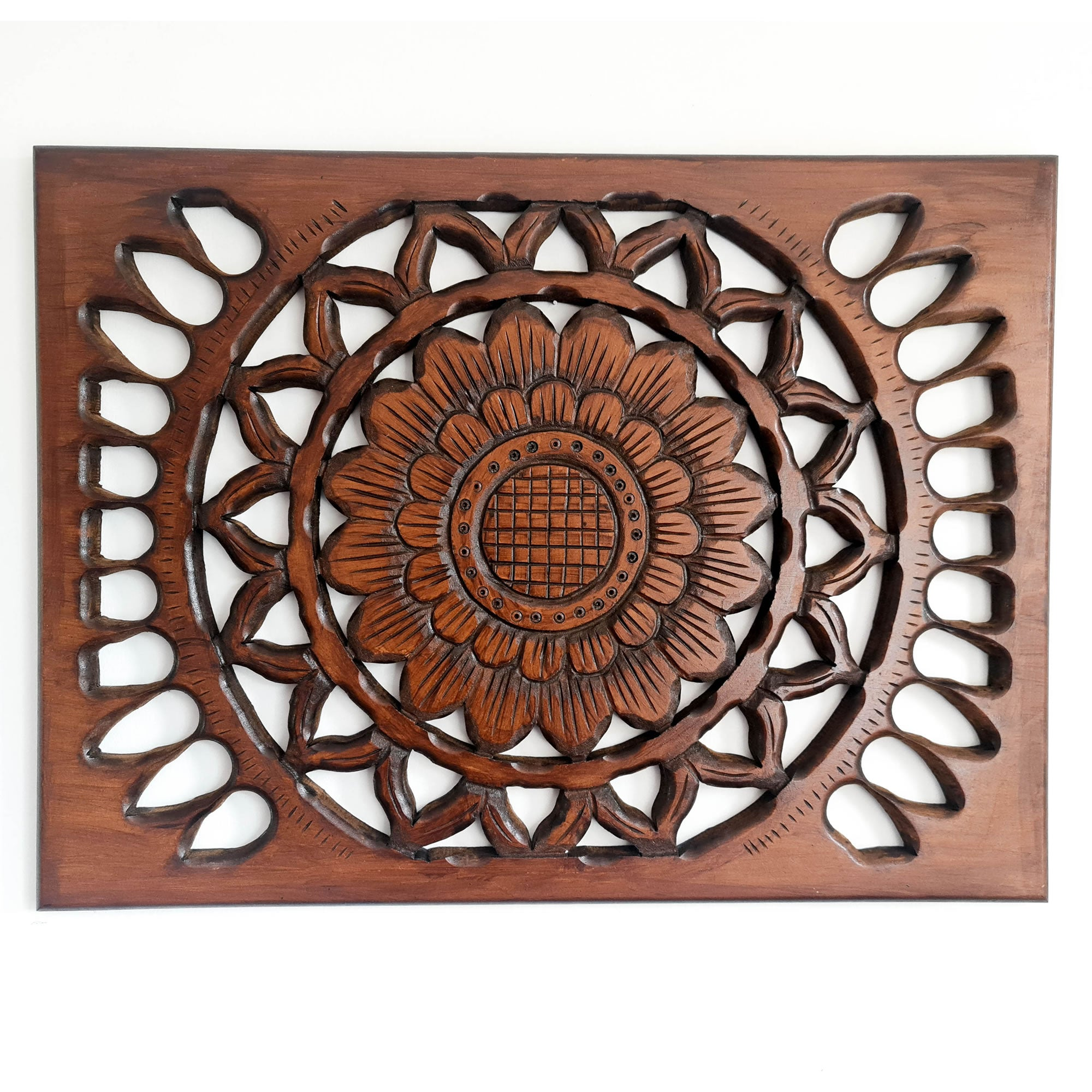 Handmade Carved Wooden Decorative Wall Art Lotus Mandala