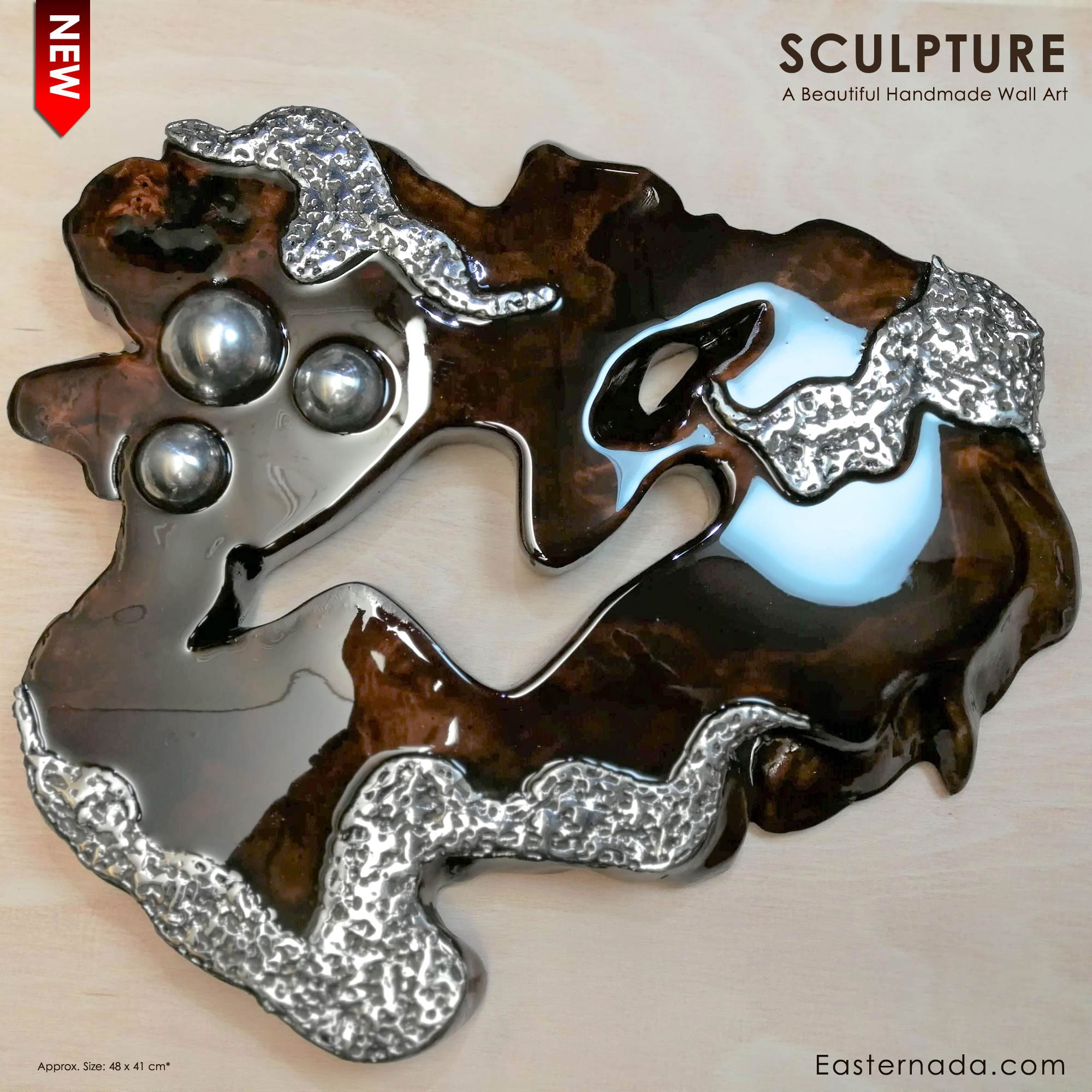 Hand made Decorative Solid Wood Stainless Steel Wall Art Sculpture - Easternada