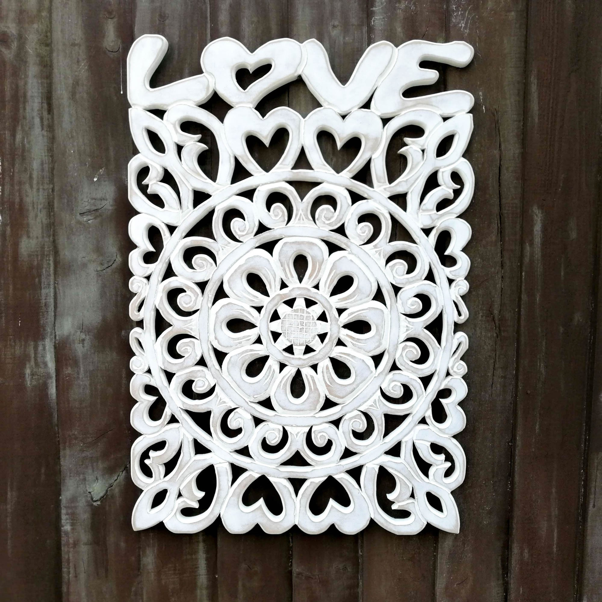 Handmade Carved Wooden Decorative Wall Art Lotus Headboard Panel LOVE
