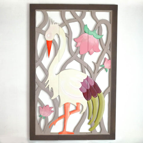 Carved Painted Wooden Wall Art - Large Headboard Decorative Bird Panel