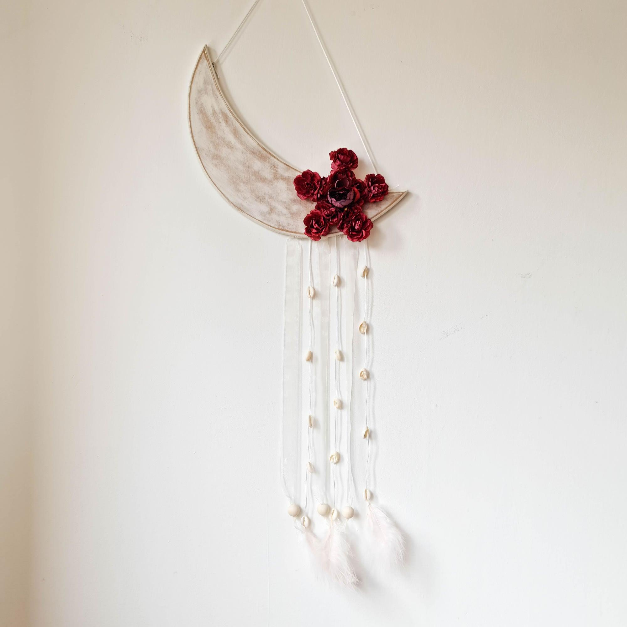 Bohemian Moon Star Flower Decorative Wall Hanging - 40 x 90 cm Dream Catcher Wedding Gift for her
