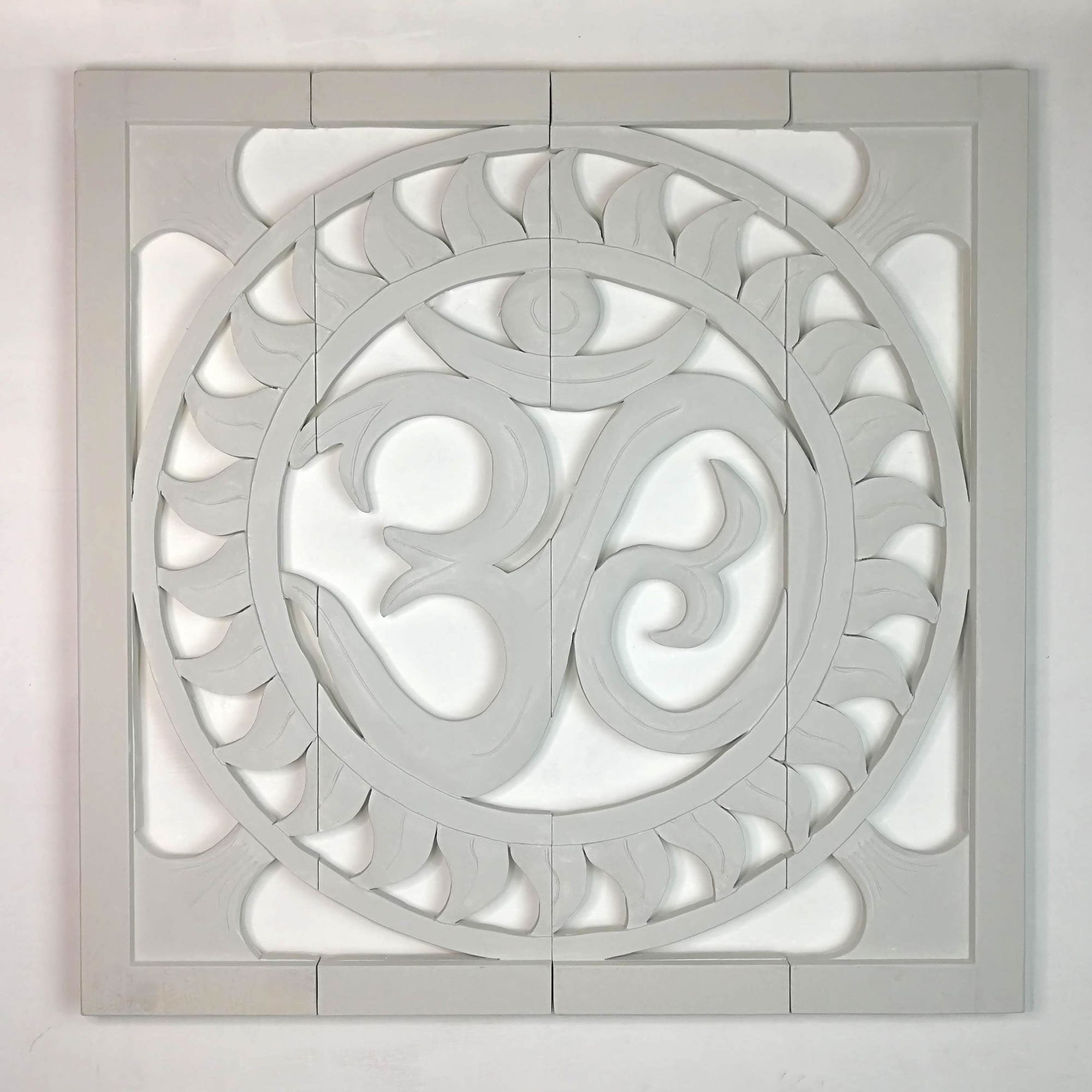 Carved Wooden Wall Art - Large Headboard Decorative Om Mantra Yoga Panel